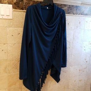 Jackets & Blazers - NWOT Asymmetrical cross front top w/ fringe Sz M